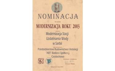 Nominacja do tytułu Modernizacja Roku 2003