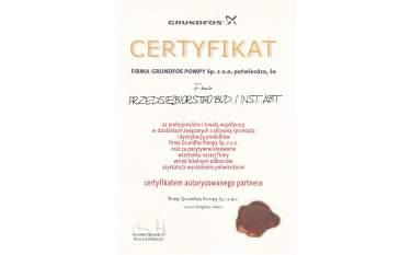 Certyfikat autoryzowanego partnera Grundfos 2004