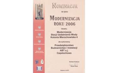 Nominacja do tytułu Modernizacja roku 2006