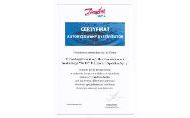 Certyfikat autoryzowanego dystrybutora Danfoss Socla 2007