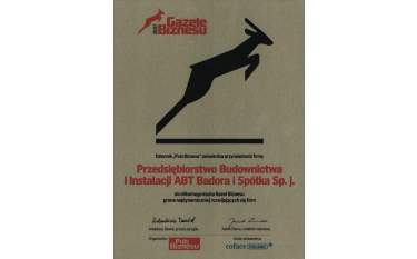 Certyfikat przynależności do klubu Gazel Biznesu 2007