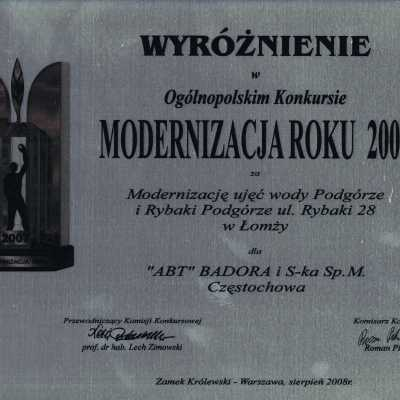 Wyróżnienie w Ogólnopolskim Konkursie Modernizacja Roku 2007