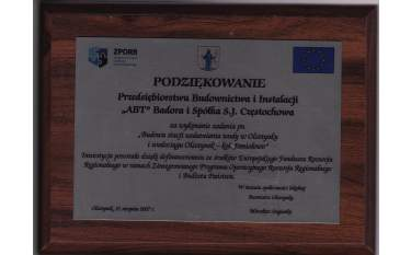 Podziękowanie za Budowe stacji uzdatniania wody w Olsztynki i wodociągu Olsztynek - kol. Jemiołowo 2007
