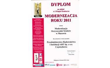 Dyplom za udział w I Etapie Konkursu Modernizacja Roku 2011
