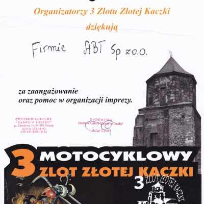 """Podziękowanie za zaangażowanie oraz pomoc w organizacji imprezy """"3 Motocyklowy Zlot Złotej Kaczki"""""""