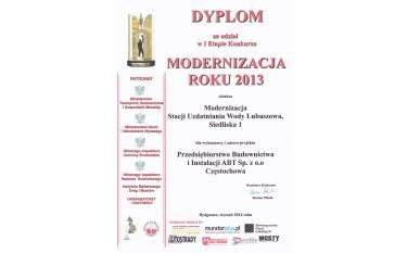 Dyplom za udział w I Etapie Konkursu Modernizacja Roku 2013