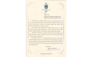 Podziękowanie Szprotawa 2013