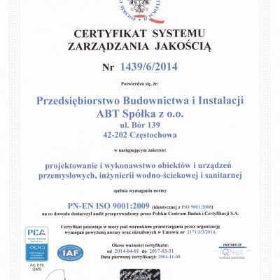 Certyfikat Systemu Zarządzania Jakością 2014