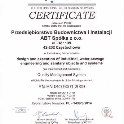 Certyfikat IQNet i PCBC 2014