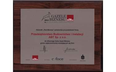 Certyfikat przynależności do klubu Gazel Biznesu 2014