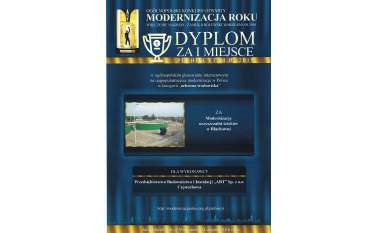 Dyplom za zajęcie I miejsca w Modernizacji Roku 2015