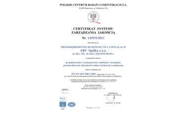 Certyfikat Systemu Zarządzania Jakością 2009
