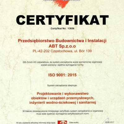 Certyfikat Systemu Zarządzania Jakością 2017